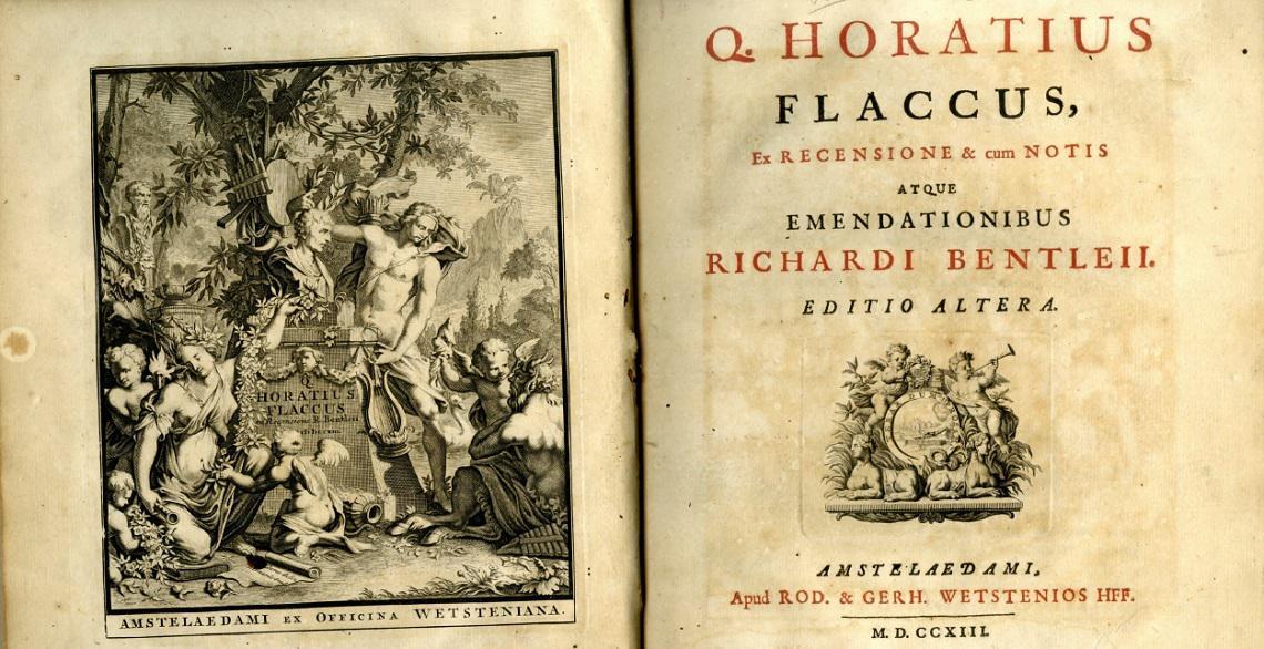 Horatius, Quintus Flaccus. Ex Recensione & Cum notis  atque emendationibus Richardi Bentleii. Amstelaedami, 1713